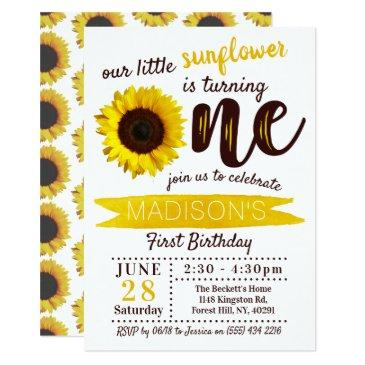 little sunflower 1st birthday invitation