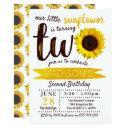 little sunflower 2nd birthday invitation