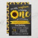 little sunflower chalkboard 1st birthday invitation