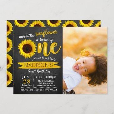 little sunflower chalkboard 1st birthday photo invitation