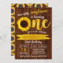 little sunflower rustic wood 1st birthday invitation