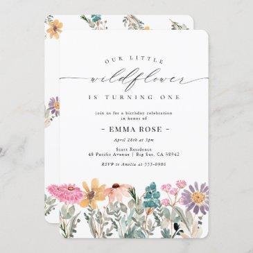 little wildflower flower birthday invitation