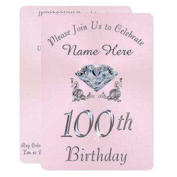 lovely diamond 100th birthday party invitations
