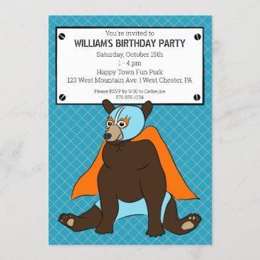 luchador mexican wrestler bear custom party invitation