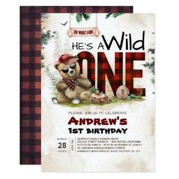 lumberjack bear first birthday party invitation