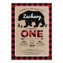 lumberjack bear tartan 1st birthday woodland party invitations
