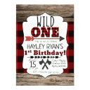 lumberjack buffalo plaid wild one 1st birthday invitation