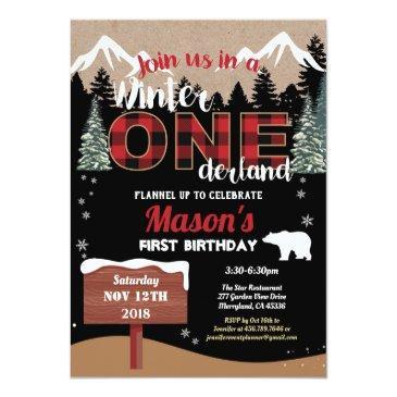 Small Lumberjack First Birthday Winter Onederland Boy Invitation Front View
