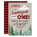 lumberjack is turning one birthday invitations