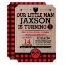 lumberjack kids birthday, plaid rustic little man invitation
