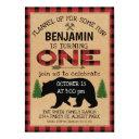 lumberjack plaid bear birthday invitation