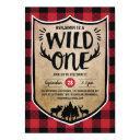 lumberjack wild one boys 1st birthday party invitation