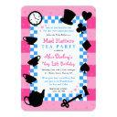 mad hatter 1st birthday party invitations