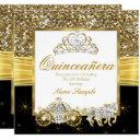 magical quinceanera gold black horse carriage invitations