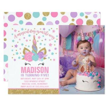 magical unicorn birthday invitations pink gold
