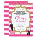 makeup manicures spa birthday invitation girl