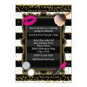 makeup party gold confetti & stripes glamour invitations