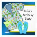 mans bbq margarita beach birthday party invitations