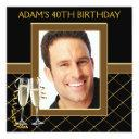 mans black and gold birthday party invitation
