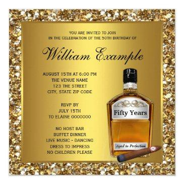 mans gold aged to perfection whiskey birthday invitations