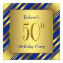 mans royal blue and gold 50th birthday party invitation