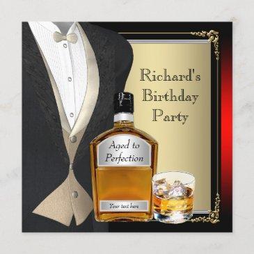 mans whiskey birthday party invitation