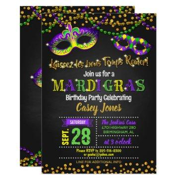 mardi gras birthday invitation