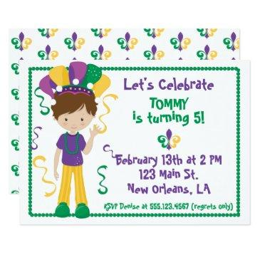 mardi gras birthday party invitations for boy