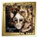 mardi gras mask black gold masquerade party invitations