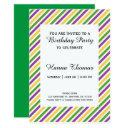 mardi gras stripe birthday invitation