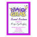 mardi gras sweet 16 party invitation