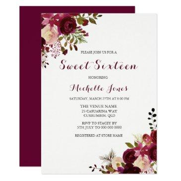 marsala burgundy red floral spring sweet 16 invite
