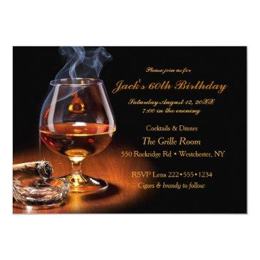 masculine cigars & brandy cognac snifter monogram invitations