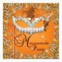 mask masquerade orange birthday party gold invitation
