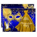 mask tiara masquerade quinceanera gold blue invitation