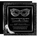 masquerade ball high heels black silver sweet 16 invitation