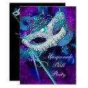 masquerade ball party teal blue purple masks lge invitations