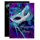 masquerade ball party teal blue purple masks sml invitation