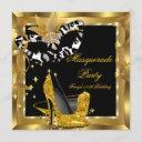 masquerade birthday party mask wild gold heels invitation