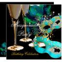 masquerade birthday party teal blue gold masks invitations