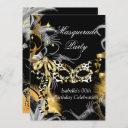 masquerade birthday party wild mask black gold invitation