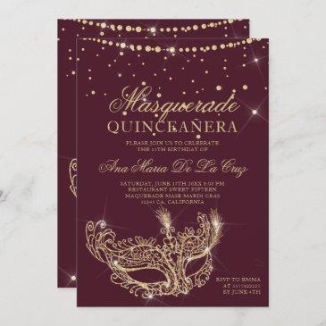 masquerade gold glitter red burgundy quinceanera invitation