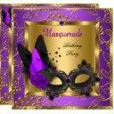 masquerade gold purple black birthday party invitation