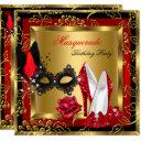 masquerade gold red black glitter high heels mask invitations