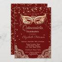 masquerade, lace, diamonds quinceañera invitation