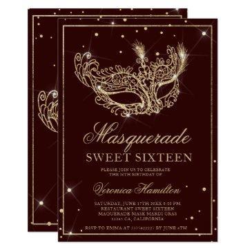 masquerade mask burgundy gold glitter sweet 16 invitation