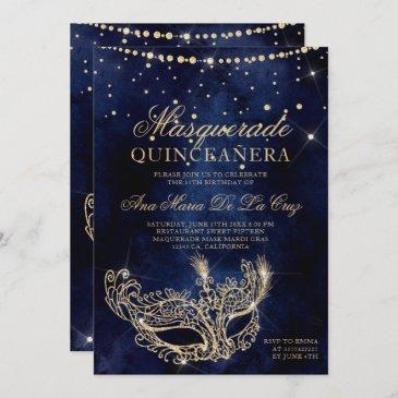 masquerade mask chic gold glitter quinceanera invitation