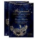 masquerade mask chic gold glitter sparkle sweet 16 invitation