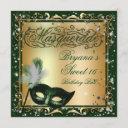 masquerade mask gold & green birthday party invitation