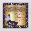 masquerade mask gold & purple birthday party invitation